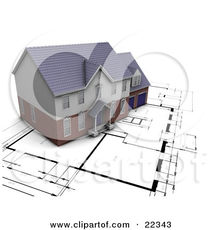 Clipart Illustration of a Custom Residential Home Resting On Top Of Black And White Blueprints by KJ Pargeter