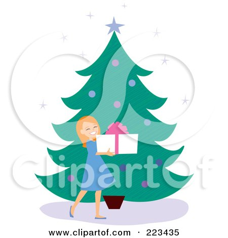 Royalty-Free (RF) Clipart Illustration of a Happy Girl Holding A Gift Box By A Christmas Tree by Monica