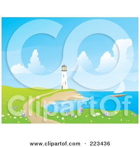 Royalty-Free (RF) Clipart Illustration of a Sailboat Sailing Near A White Lighthouse, With A Foot Path And Wildflowers by Rasmussen Images