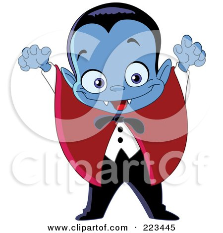 Royalty-Free (RF) Clipart Illustration of a Dracula Boy Holding Up His Arms by yayayoyo
