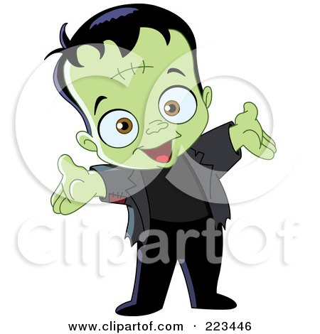 Royalty-Free (RF) Clipart Illustration of a Cute Little Frankenstein Holding Out His Arms by yayayoyo