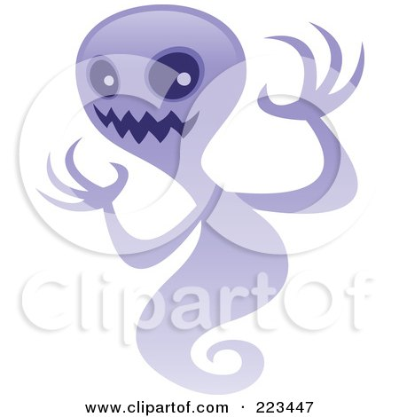 Royalty-Free (RF) Clipart Illustration of a Spooky Purple Ghost by John Schwegel