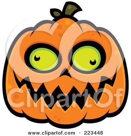Royalty-Free (RF) Clipart Illustration of a Spooky Green Eyed Jackolantern by John Schwegel