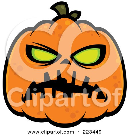 Royalty-Free (RF) Clipart Illustration of a Spooky Green Eyed Halloween Pumpkin by John Schwegel