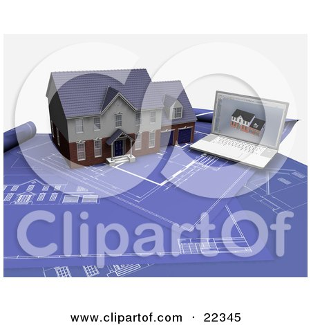 Custom Two Story Residential House And A Laptop With An Architectural Program Resting On Top Of Blueprints