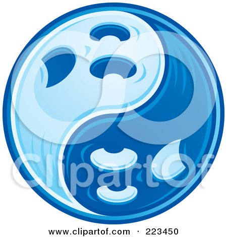 Royalty-Free (RF) Clipart Illustration of a Blue Yin Yang of Ghosts by John Schwegel