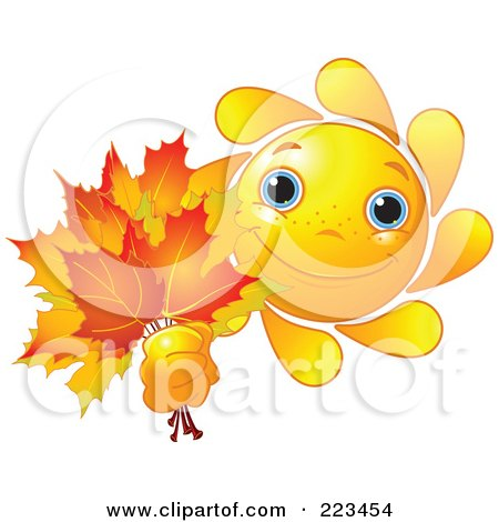 Royalty-Free (RF) Clipart Illustration of a Happy Sun Holding Out Autumn Leaves by Pushkin