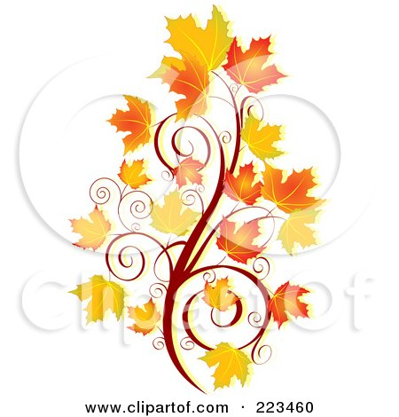 Royalty-Free (RF) Clipart Illustration of an Autumn Spiral And Leaves by Pushkin.