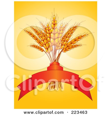 Royalty-Free (RF) Clipart Illustration of a Bundle Of Wheat With A Red Banner On Orange by Pushkin