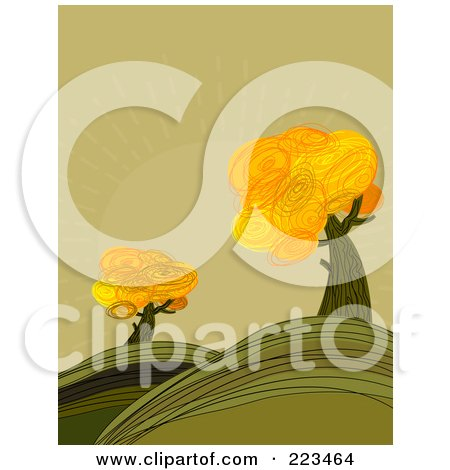 Royalty-Free (RF) Clipart Illustration of Autumn Trees In A Hilly Landscape, Against A Green Sky by Pushkin