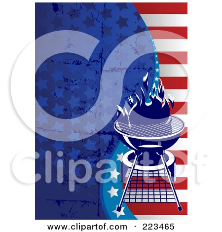 Royalty-Free (RF) Clipart Illustration of a Labor Day Or Independence Day Background Of Grungy Stars And Stripes With A Bbq by Pushkin