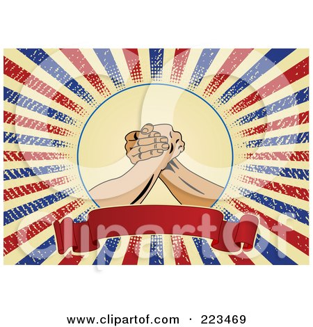 Royalty-Free (RF) Clipart Illustration of Labor Worker Hands Over A Blank Banner On A Grungy American Background by Pushkin