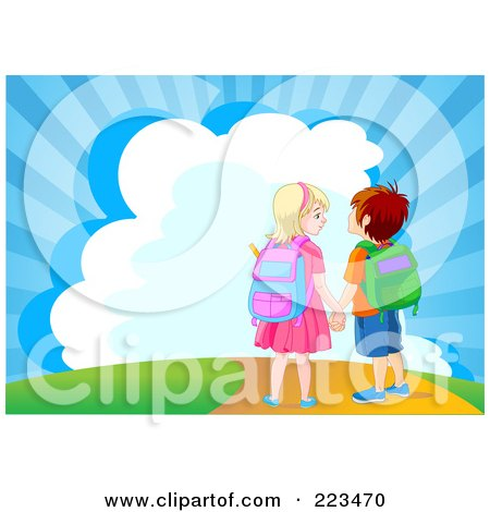 Royalty-Free (RF) Clipart Illustration of a School Boy And Girl Holding Hands And Walking Down A Path by Pushkin