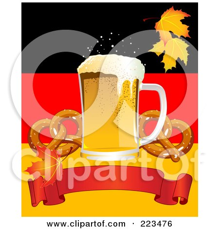 Royalty-Free (RF) Clipart Illustration of Oktoberfest Beer With Soft Pretzels Over A Red Banner On A German Background by Pushkin