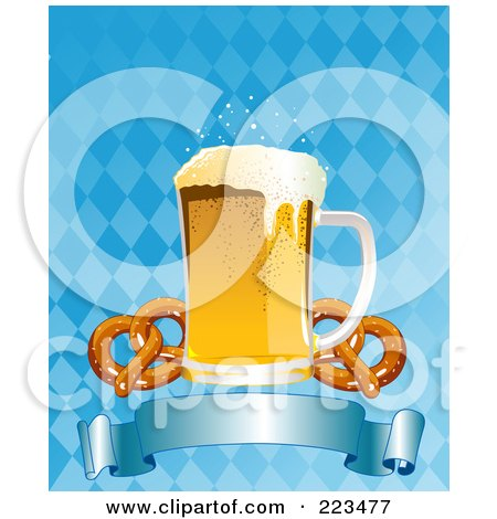 Royalty-Free (RF) Clipart Illustration of Oktoberfest Beer With Soft Pretzels Over A Blue Banner On A Checkered Background by Pushkin