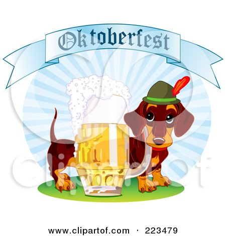 Royalty-Free (RF) Clipart Illustration of a German Daschund Dog With Beer Under An Oktoberfest Banner by Pushkin