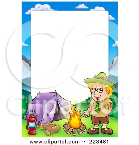 Royalty Free RF Clipart Illustration Of A Boy Camping Border Frame Around White Space