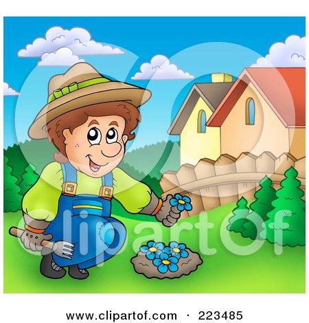 Royalty-Free (RF) Clipart Illustration of a Gardener Planting Blue Flowers by visekart