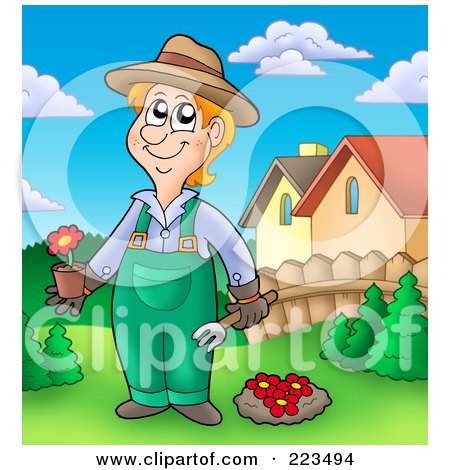 Royalty-Free (RF) Clipart Illustration of a Gardener Planting Red Flowers by visekart