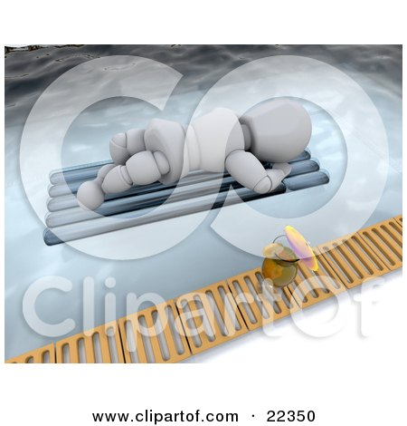 Clipart Illustration of a Relaxing White Character Sun Bathing On A Lounger Float In A Pool, A Cocktail On The Ledge by KJ Pargeter