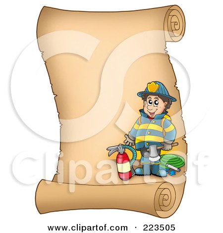 Royalty-Free (RF) Clipart Illustration of a Vertical Parchment Page With A Fireman by visekart