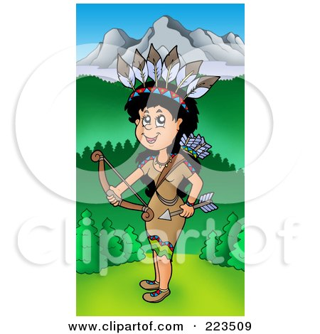 Royalty-Free (RF) Clipart Illustration of a Native American Woman Holding A Bow Near Mountains by visekart