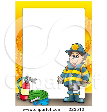 Royalty-Free (RF) Clipart Illustration of a Fireman Border With Flames Around White Space by visekart