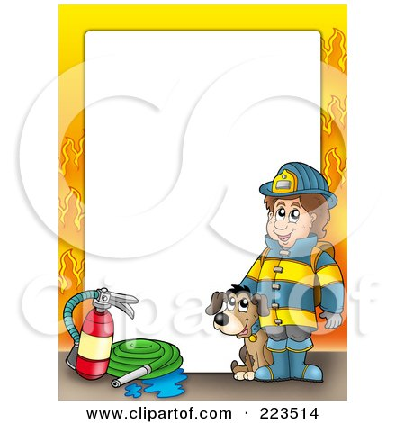 Royalty-Free (RF) Clipart Illustration of a Fireman And Dog Border With Flames Around White Space by visekart