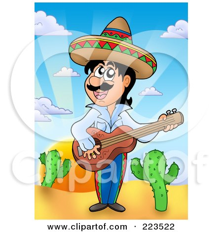 Royalty-Free (RF) Clipart Illustration of a Hispanic Man Playing A Banjo by visekart