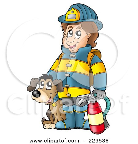 Royalty-Free (RF) Clipart Illustration of a Fireman By A Dog, Holding An Extinguisher by visekart