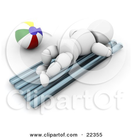 Clipart Illustration of a White Character, Lying On His Belly And Sun Bathing By A Beach Ball On A Warm Beach by KJ Pargeter