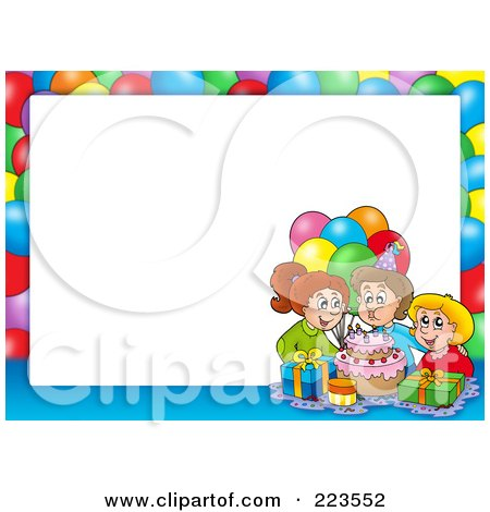 Birthday Party Border Frame Around White Space Posters Art Prints