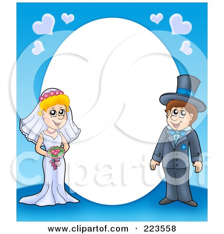 RoyaltyFree RF Clipart Illustration of a Frame Border Of A Wedding Couple