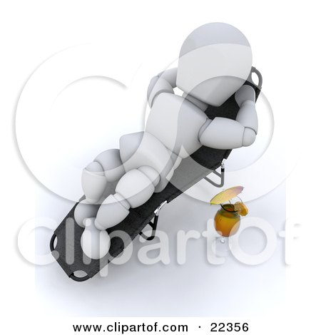 Clipart Illustration of a Relaxed White Character Lying In A Lounger And Sun Bathing, A Cocktail At His Side by KJ Pargeter