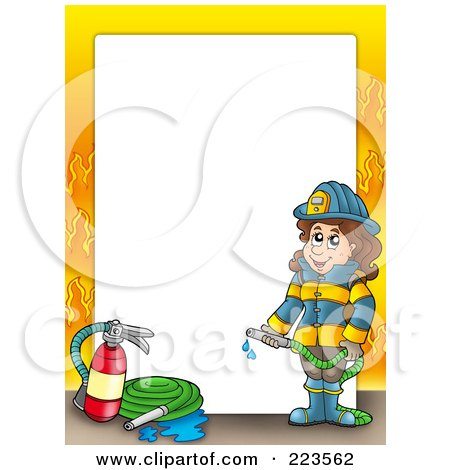 Royalty-Free (RF) Clipart Illustration of a Firewoman Border With Flames Around White Space by visekart