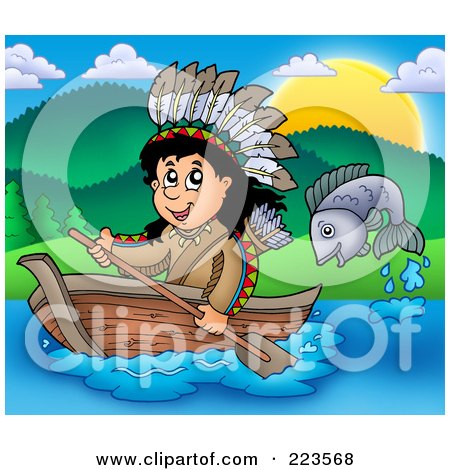 Royalty-Free (RF) Clipart Illustration of a Fish Jumping By A Native American Man Rowing A Boat by visekart