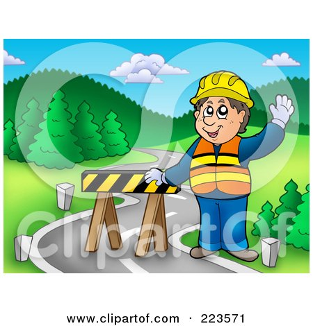 Royalty-Free (RF) Clipart Illustration of a Road Construction Worker Standing By A Barrier by visekart
