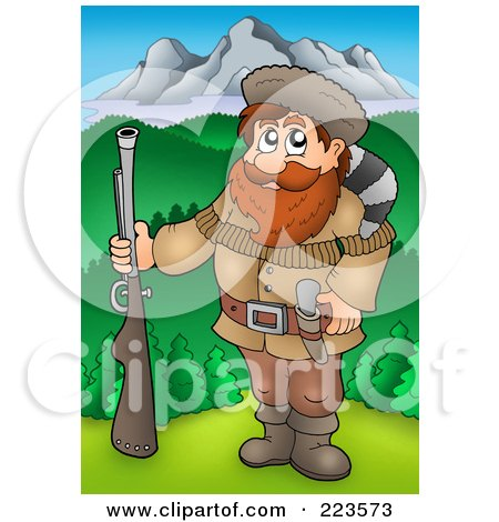 Royalty-Free (RF) Clipart Illustration of a Hunter Holding A Gun Near Mountains by visekart