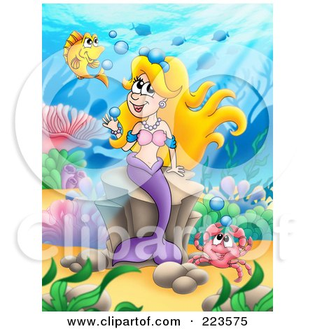 Royalty-Free (RF) Clipart Illustration of a Blond Mermaid Playing With Bubbles by visekart