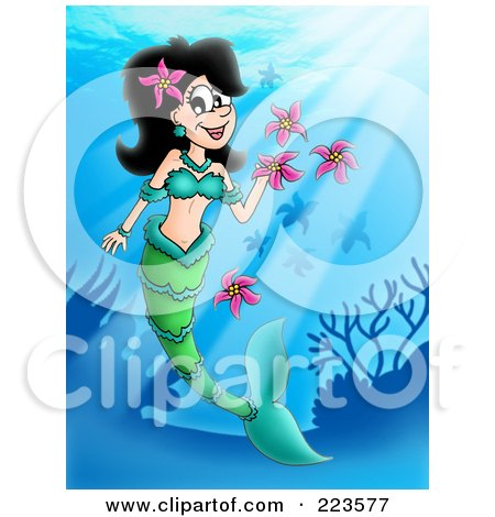 Royalty-Free (RF) Clipart Illustration of a Blond Mermaid Playing With Flowers by visekart