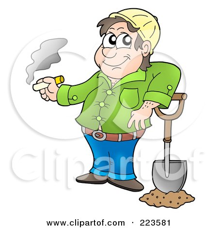 Royalty-Free (RF) Clipart Illustration of a Worker Man Smoking While Resting His Arm On His Shovel by visekart