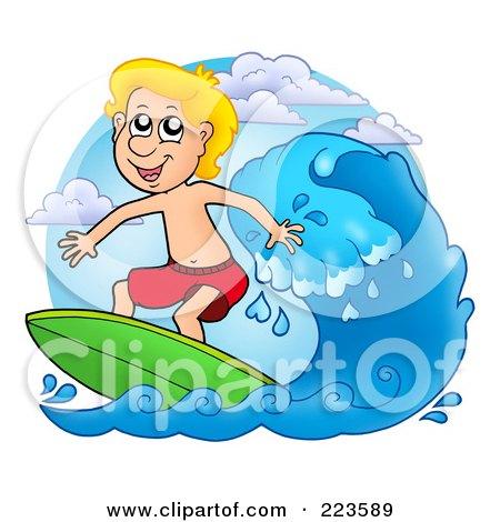 Blond Summer Boy Surfing Posters, Art Prints