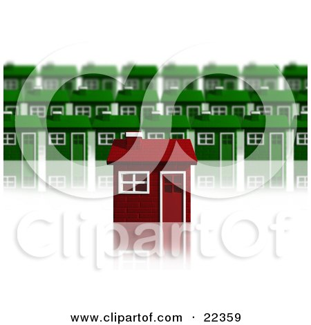 Clipart Illustration of a Unique Red Brick House Standing Out In Front Of Rows Of Green Homes In A Neighborhood, Over White by KJ Pargeter
