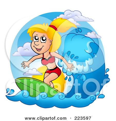 Royalty-Free (RF) Clipart Illustration of a Blond Summer Woman Surfing by visekart
