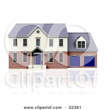 Clipart Illustration of a Two Story House With Blue Doors And A Two Car Garage, On Top Of A Reflective White Surface by KJ Pargeter