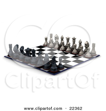 Clipart Illustration of a Lineup Of Black And White Chess Pieces, Kings, Queens, Rooks, Knights, Bishops, And Pawns, On A Both Sides Of The Chessboard, Ready For A Battle by KJ Pargeter