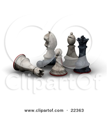 Clipart Illustration of a White Chess Rook And Black Pawn Lying Down In Defeat Amung A Standing White Knight, Pawn, Bishop And Black King by KJ Pargeter