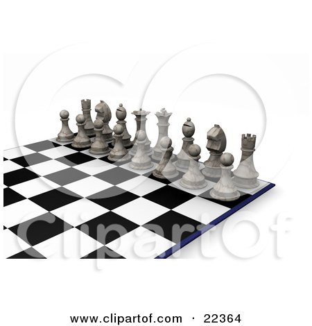 Clipart Illustration of a Lineup Of White Chess Pieces, The King, Queen, Rooks, Knights, Bishops, And Pawns, On A Chessboard, Ready For A Battle by KJ Pargeter