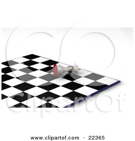 Clipart Illustration of a White King Chess Piece Knocked Over On Its Side In Defeat During A Game Of Chess by KJ Pargeter