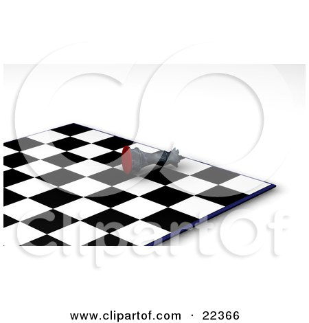 Clipart Illustration of a Black King Chess Piece Knocked Over On Its Side In Defeat During A Game Of Chess, Symbolizing Resignation by KJ Pargeter